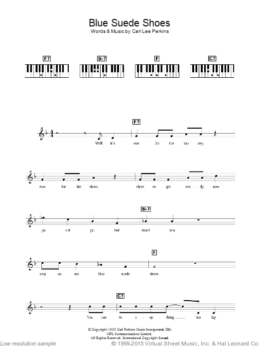 Blue Suede Shoes sheet music for piano solo (chords, lyrics, melody) by Elvis Presley