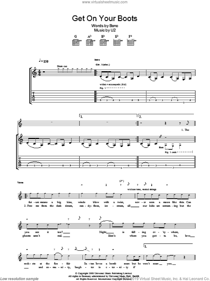 Get On Your Boots sheet music for guitar solo (tablature) by Bono