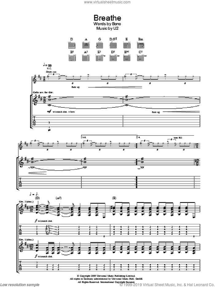 Breathe sheet music for guitar (tablature) by U2 and Bono, intermediate skill level