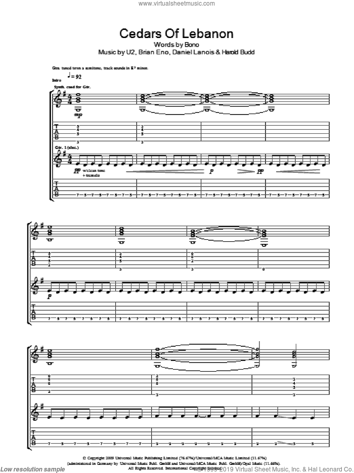 Cedars Of Lebanon sheet music for guitar (tablature) by Brian Eno, U2, Daniel Lanois and Bono. Score Image Preview.