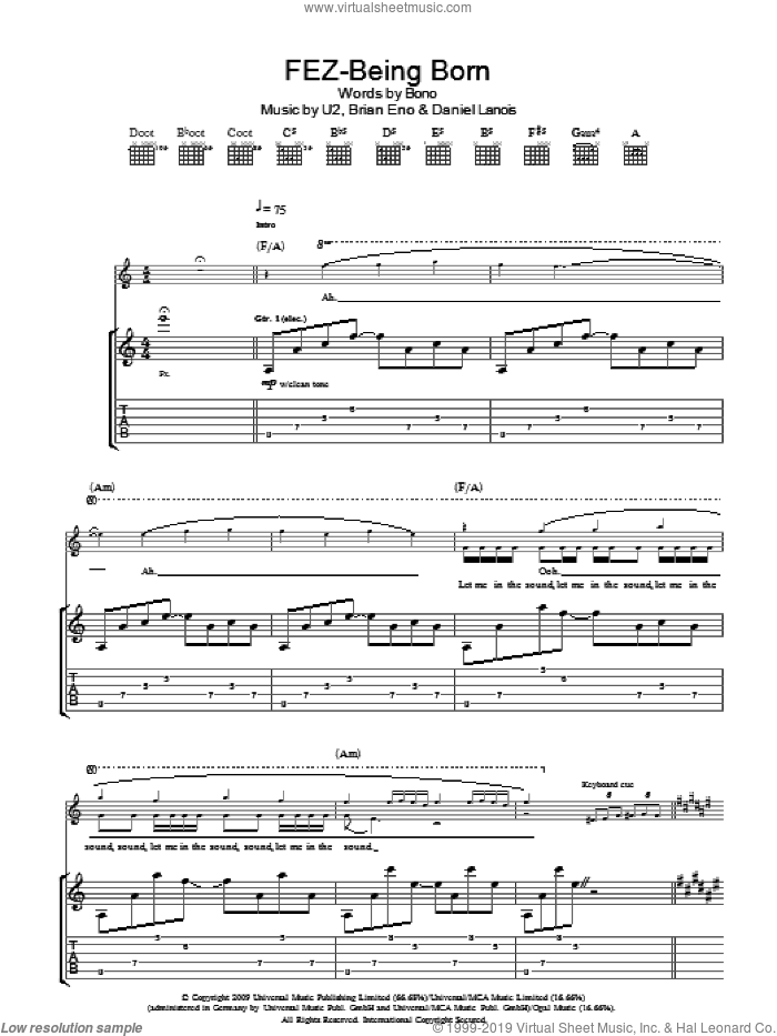 Fez-Being Born sheet music for guitar (tablature) by U2, Brian Eno, Daniel Lanois and Bono. Score Image Preview.