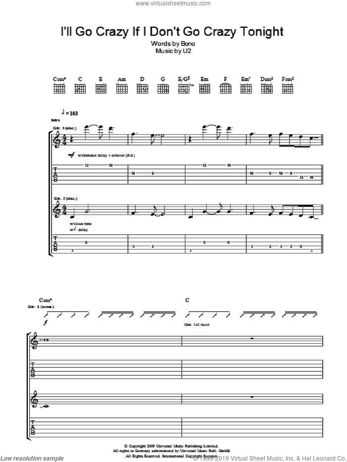 I'll Go Crazy If I Don't Go Crazy Tonight sheet music for guitar (tablature) by U2 and Bono, intermediate skill level