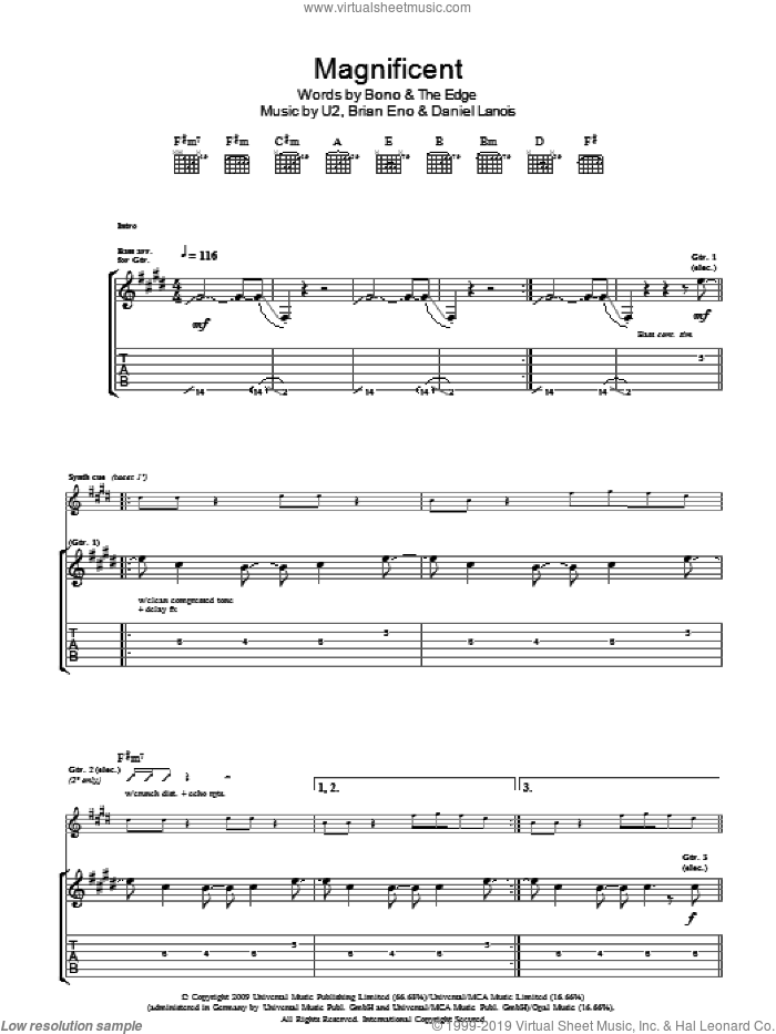 Magnificent sheet music for guitar (tablature) by Brian Eno, U2, Daniel Lanois, Bono and The Edge. Score Image Preview.