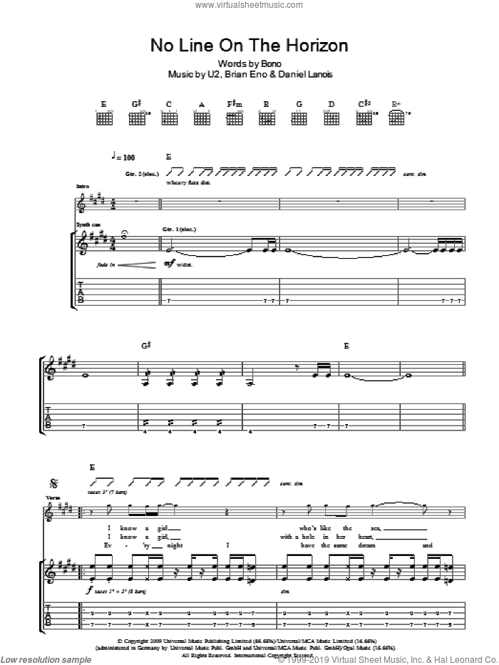 No Line On The Horizon sheet music for guitar (tablature) by Brian Eno
