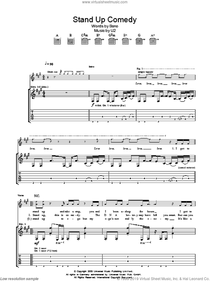 Stand Up Comedy sheet music for guitar (tablature) by U2 and Bono, intermediate skill level