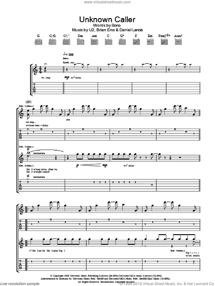 Unknown Caller sheet music for guitar (tablature) by Brian Eno, U2, Daniel Lanois and Bono. Score Image Preview.