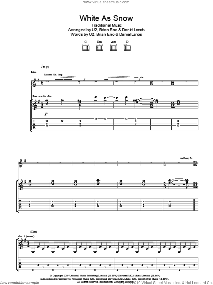 White As Snow sheet music for guitar (tablature) , Brian Eno, Daniel Lanois and U2. Score Image Preview.