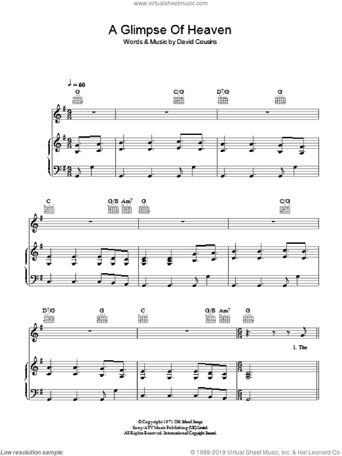 A Glimpse Of Heaven sheet music for voice, piano or guitar by David Cousins