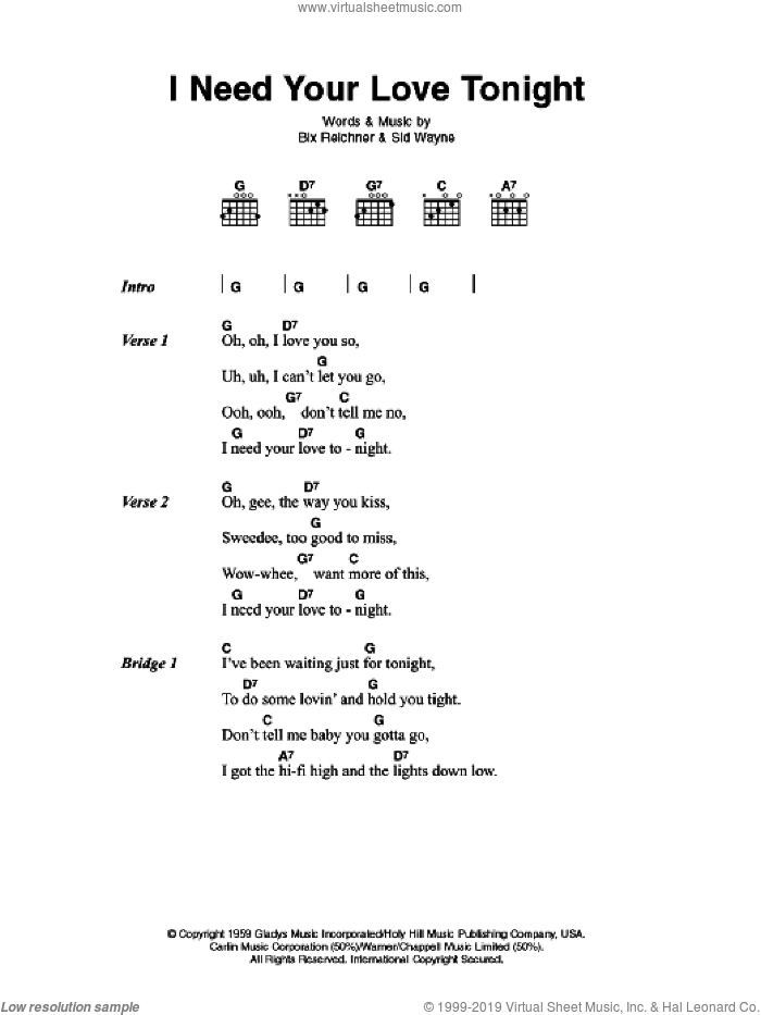 I Need Your Love Tonight sheet music for guitar (chords) by Elvis Presley, Bix Reichner and Sid Wayne, intermediate skill level