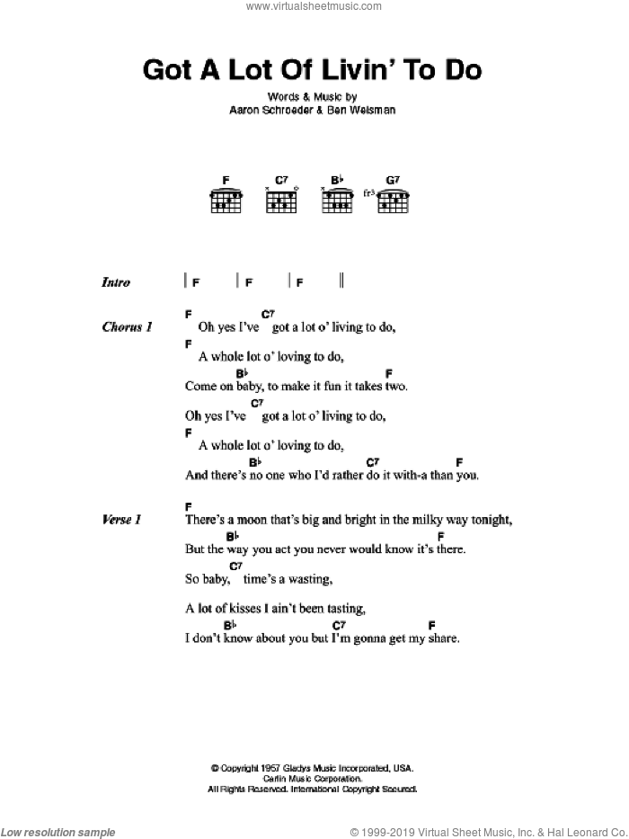 Got A Lot Of Livin' To Do sheet music for guitar (chords) by Elvis Presley and Aaron Schroeder. Score Image Preview.