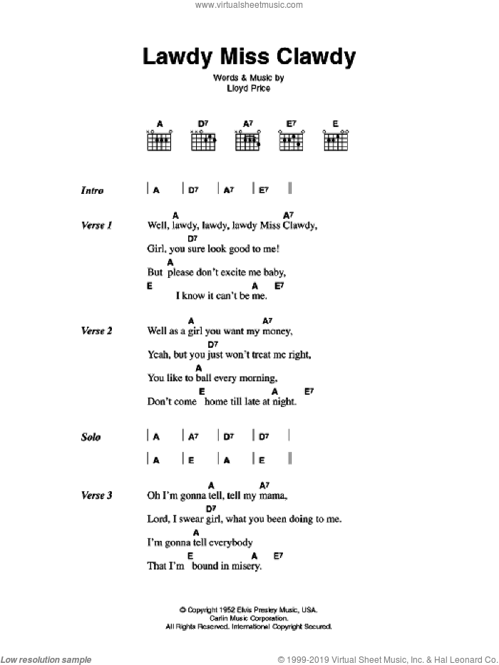 Lawdy Miss Clawdy sheet music for guitar (chords) by Lloyd Price and Elvis Presley. Score Image Preview.
