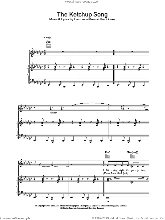 The Ketchup Song sheet music for voice, piano or guitar by Las Ketchup. Score Image Preview.