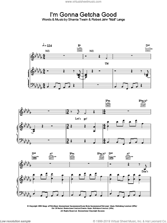 I'm Gonna Getcha Good sheet music for voice, piano or guitar by Shania Twain, intermediate. Score Image Preview.