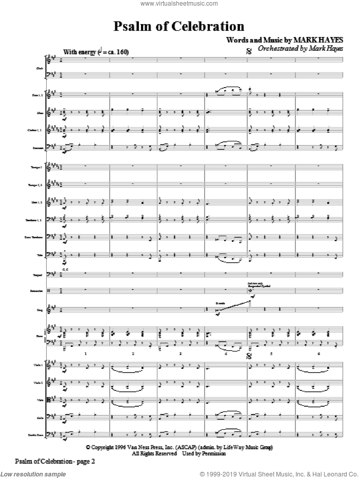 Psalm of Celebration (COMPLETE) sheet music for orchestra/band (Orchestra) by Mark Hayes, intermediate skill level