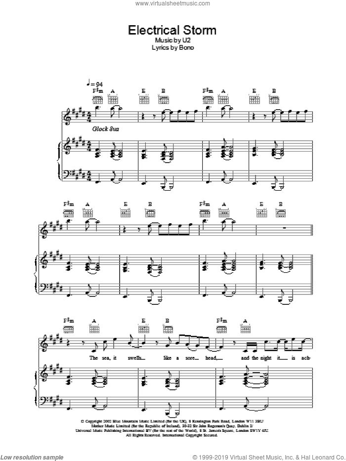 Electrical Storm sheet music for voice, piano or guitar by U2, intermediate skill level