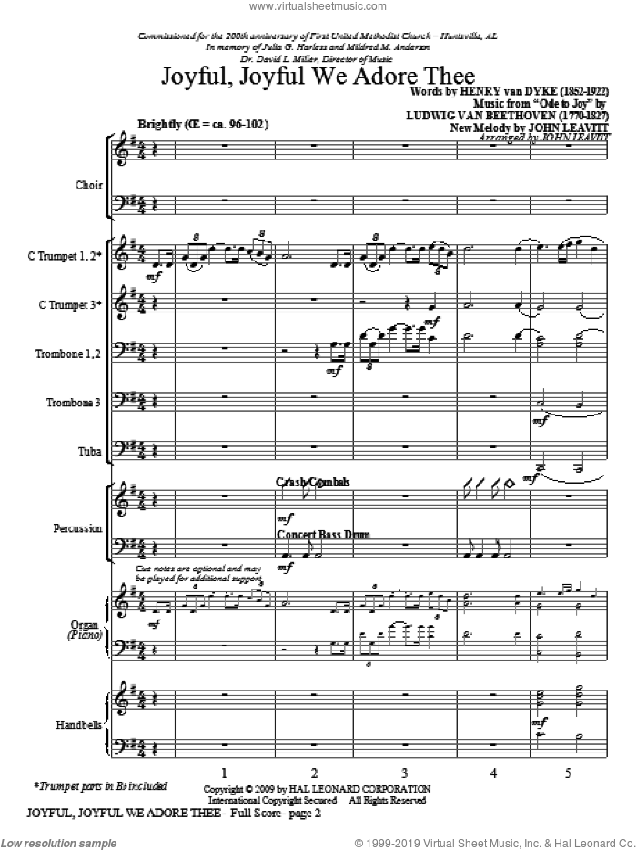 Joyful, Joyful, We Adore Thee (COMPLETE) sheet music for orchestra/band (Instrumental Accompaniment) by John Leavitt, intermediate skill level