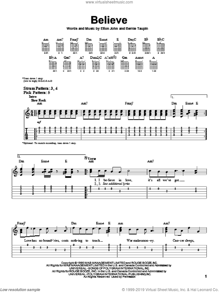 Believe sheet music for guitar solo (easy tablature) by Elton John and Bernie Taupin, easy guitar (easy tablature)