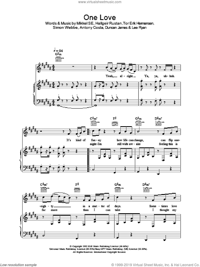 One Love sheet music for voice, piano or guitar. Score Image Preview.