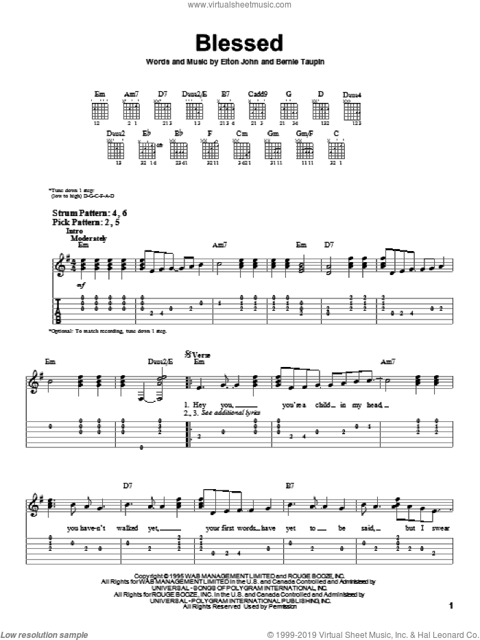 Blessed sheet music for guitar solo (easy tablature) by Bernie Taupin