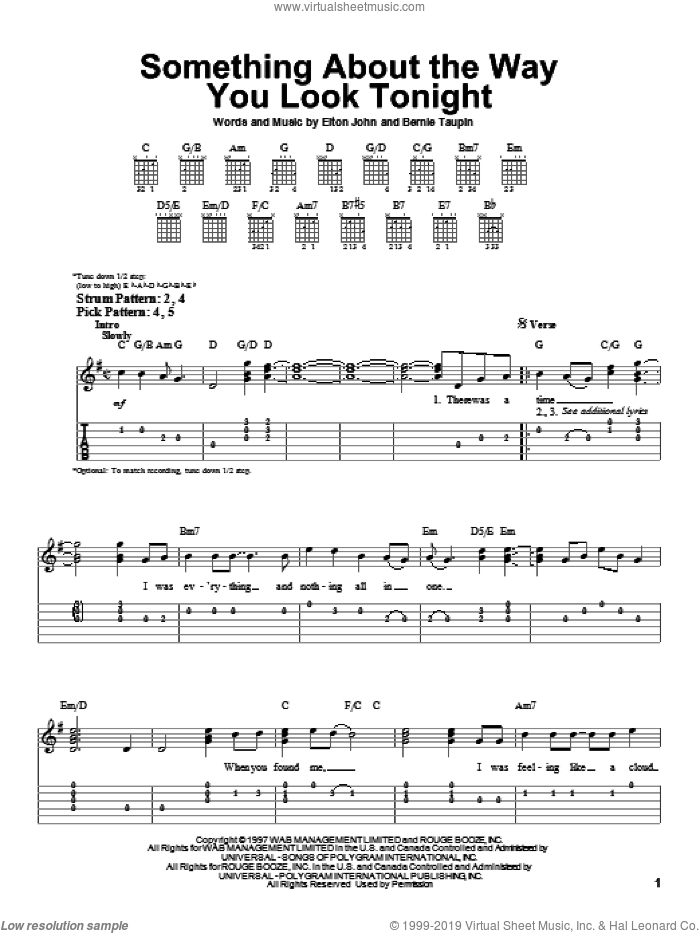 Something About The Way You Look Tonight sheet music for guitar solo (easy tablature) by Bernie Taupin and Elton John. Score Image Preview.