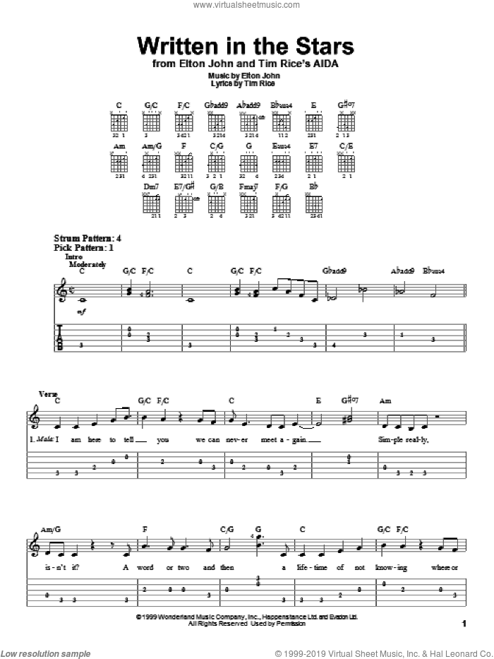Written In The Stars sheet music for guitar solo (easy tablature) by Tim Rice and Elton John. Score Image Preview.