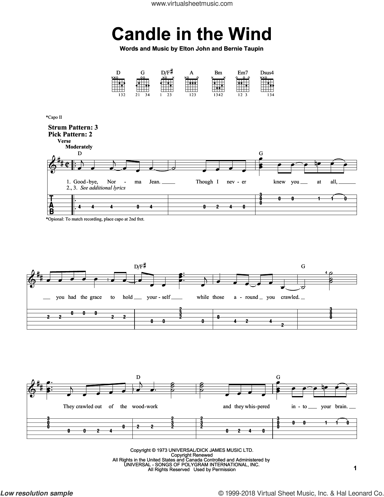 Candle In The Wind sheet music for guitar solo (easy tablature) by Bernie Taupin and Elton John. Score Image Preview.