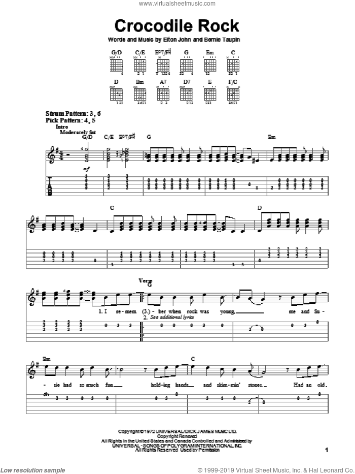 Crocodile Rock sheet music for guitar solo (easy tablature) by Bernie Taupin and Elton John. Score Image Preview.