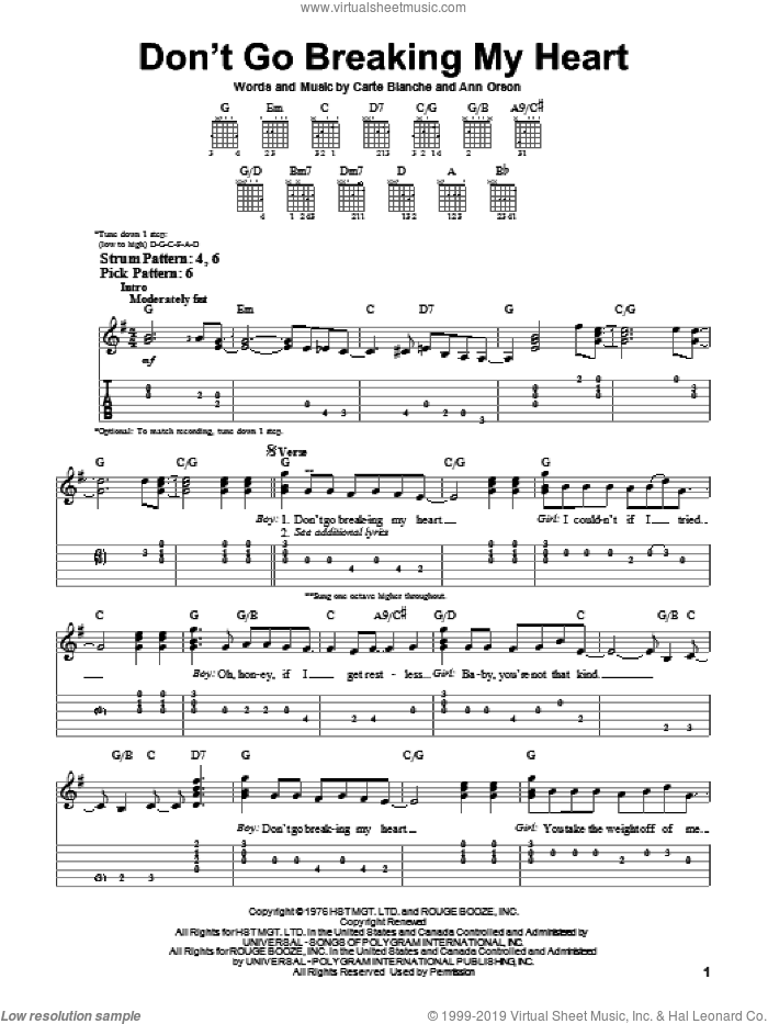 Don't Go Breaking My Heart sheet music for guitar solo (easy tablature) by Elton John, Ann Orson and Carte Blanche, easy guitar (easy tablature)