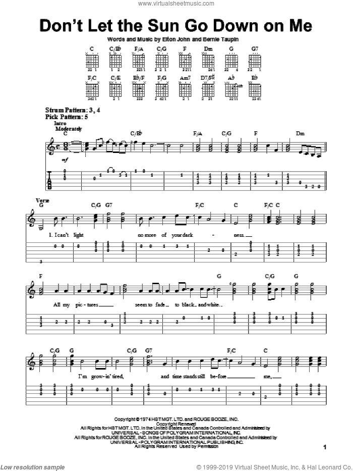Don't Let The Sun Go Down On Me sheet music for guitar solo (easy tablature) by Elton John and Bernie Taupin, easy guitar (easy tablature). Score Image Preview.