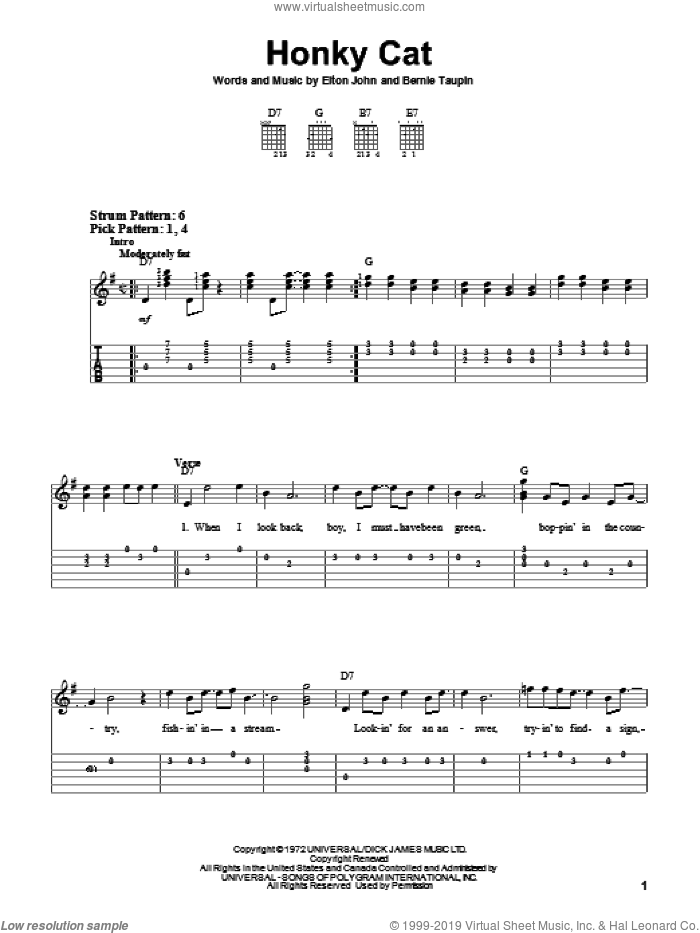 Honky Cat sheet music for guitar solo (easy tablature) by Elton John and Bernie Taupin, easy guitar (easy tablature). Score Image Preview.