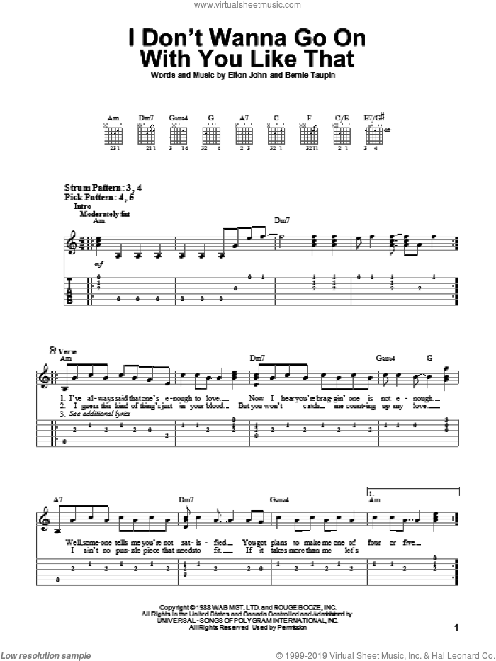 I Don't Wanna Go On With You Like That sheet music for guitar solo (easy tablature) by Bernie Taupin