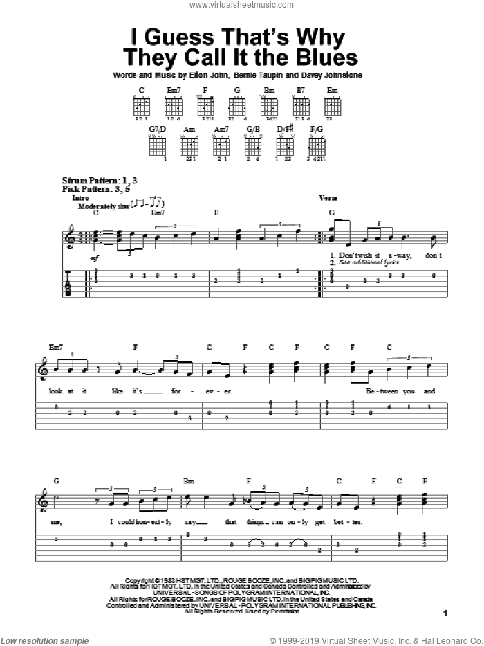 I Guess That's Why They Call It The Blues sheet music for guitar solo (easy tablature) by Davey Johnstone