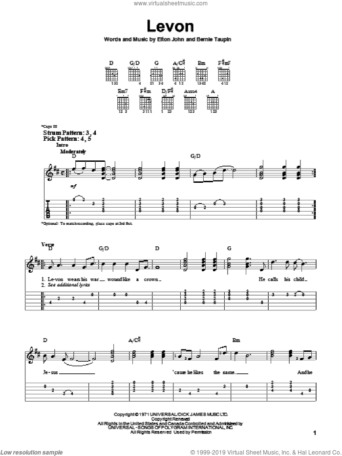 Levon sheet music for guitar solo (easy tablature) by Bernie Taupin and Elton John. Score Image Preview.