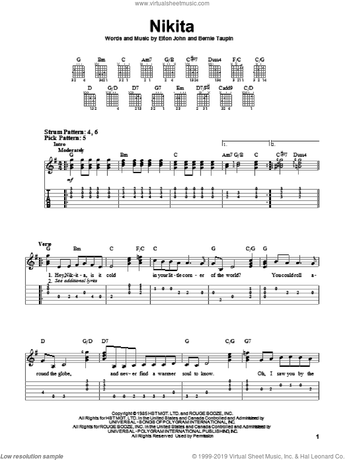 Nikita sheet music for guitar solo (easy tablature) by Bernie Taupin and Elton John. Score Image Preview.