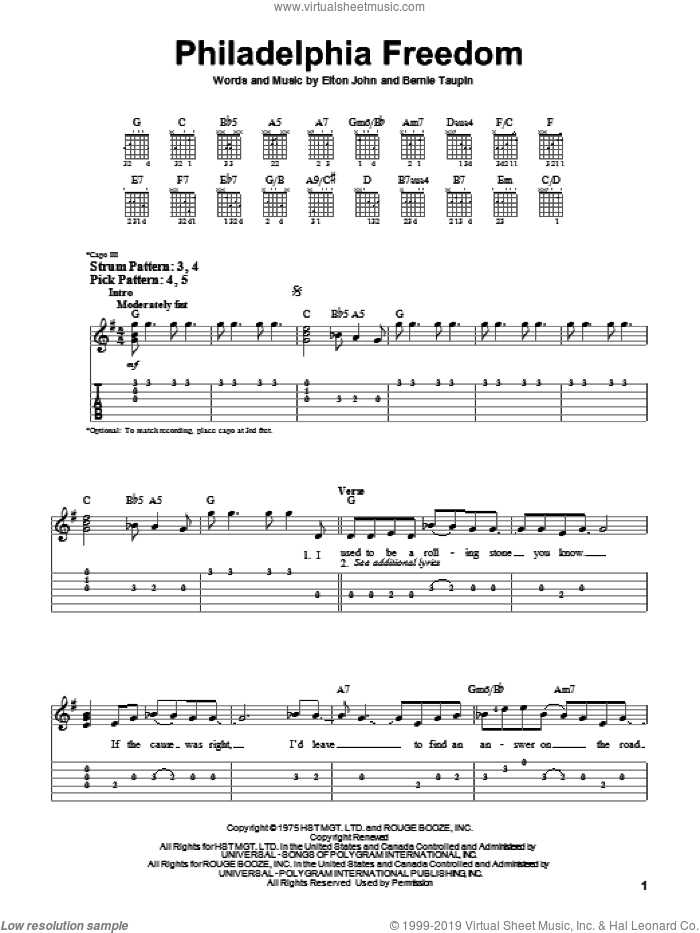 Philadelphia Freedom sheet music for guitar solo (easy tablature) by Bernie Taupin and Elton John. Score Image Preview.