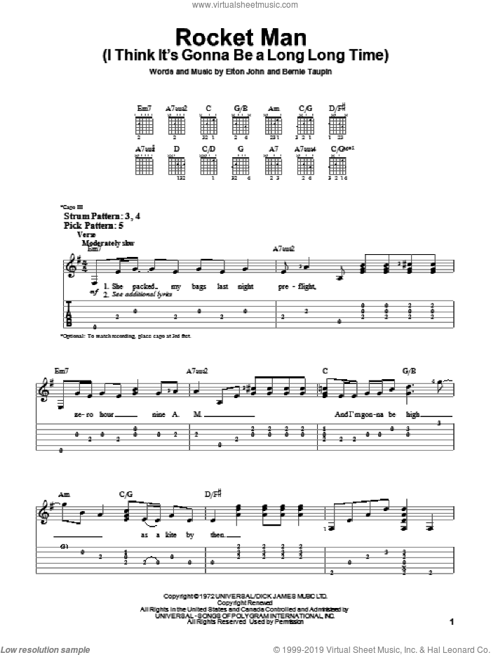 Rocket Man (I Think It's Gonna Be A Long Long Time) sheet music for guitar solo (easy tablature) by Bernie Taupin and Elton John