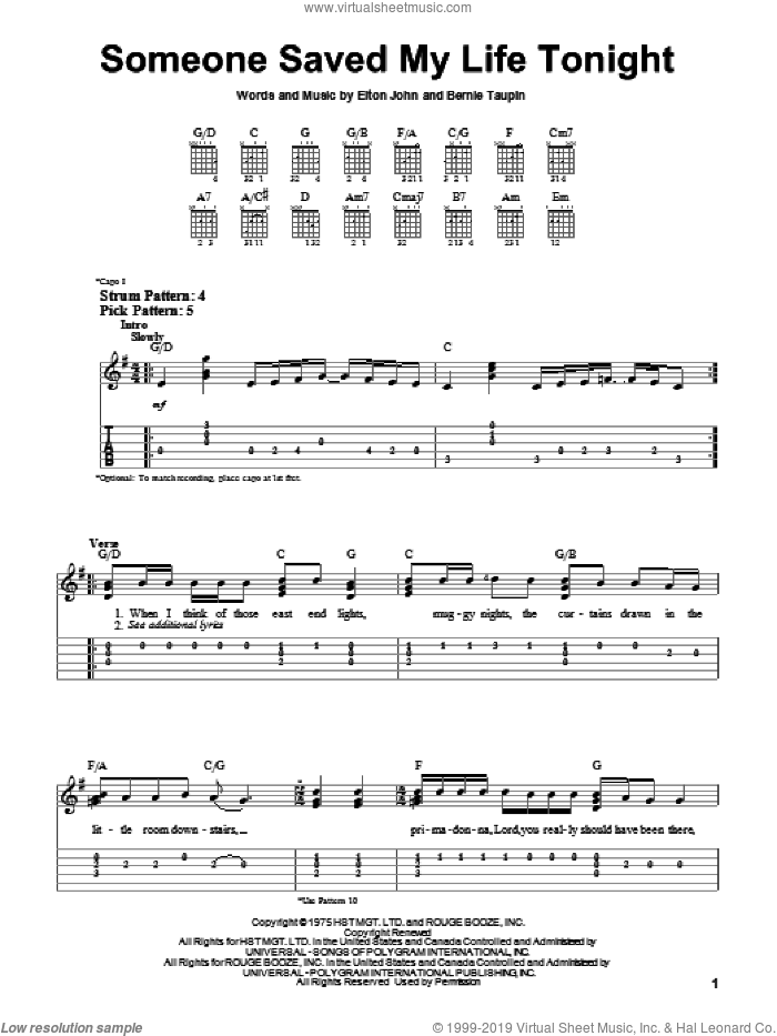 Someone Saved My Life Tonight sheet music for guitar solo (easy tablature) by Elton John and Bernie Taupin. Score Image Preview.