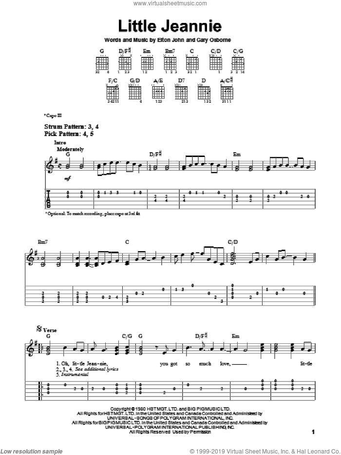 Little Jeannie sheet music for guitar solo (easy tablature) by Elton John. Score Image Preview.