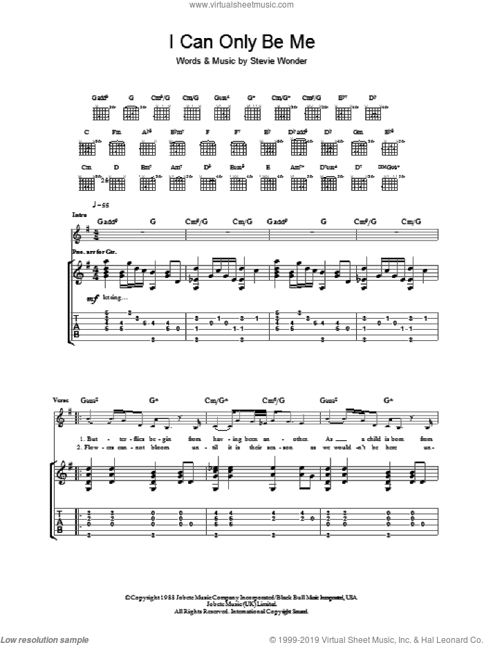I Can Only Be Me sheet music for guitar (tablature) by Eva Cassidy, intermediate. Score Image Preview.