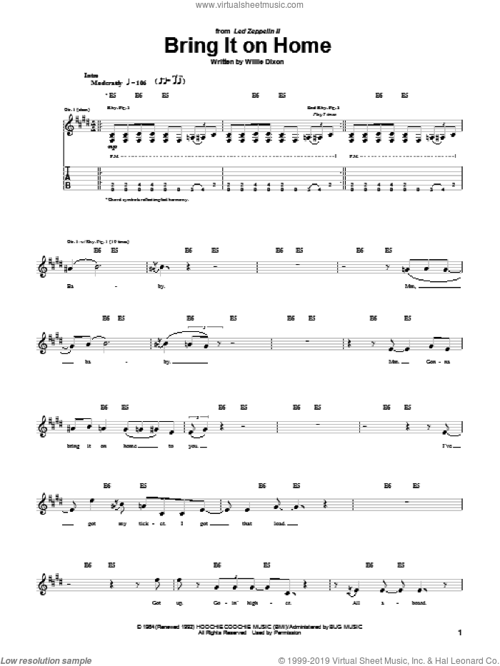 Bring It On Home sheet music for guitar (tablature) by Willie Dixon, intermediate guitar (tablature). Score Image Preview.