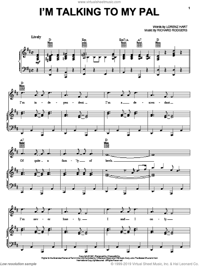 I'm Talking To My Pal sheet music for voice, piano or guitar by Rodgers & Hart, Lorenz Hart and Richard Rodgers, intermediate voice, piano or guitar. Score Image Preview.