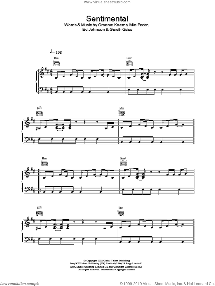Sentimental sheet music for voice, piano or guitar by Gareth Gates, intermediate. Score Image Preview.