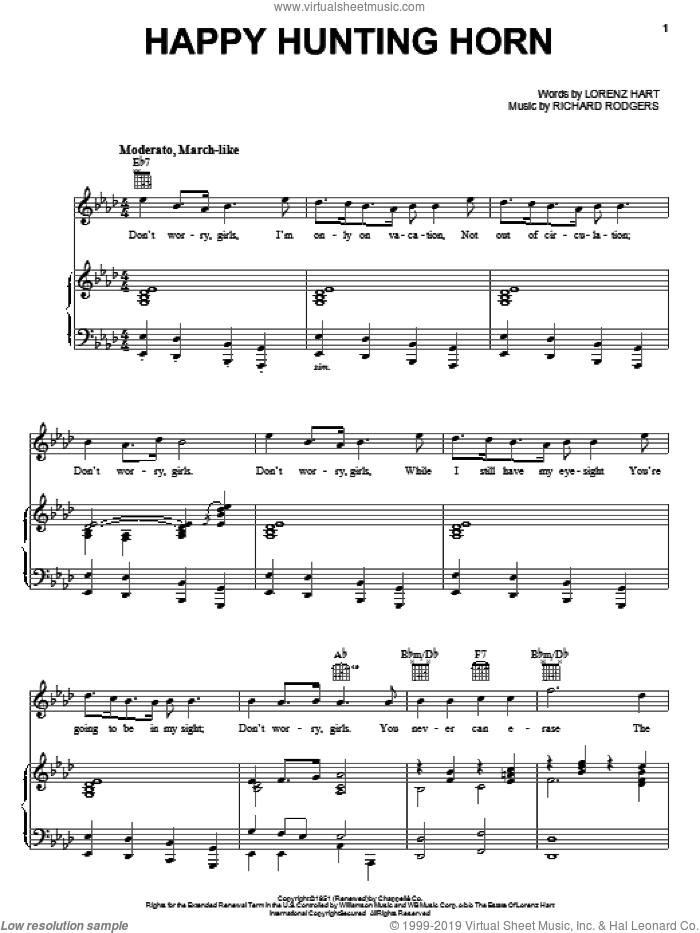 Happy Hunting Horn sheet music for voice, piano or guitar by Rodgers & Hart, Lorenz Hart and Richard Rodgers, intermediate voice, piano or guitar. Score Image Preview.