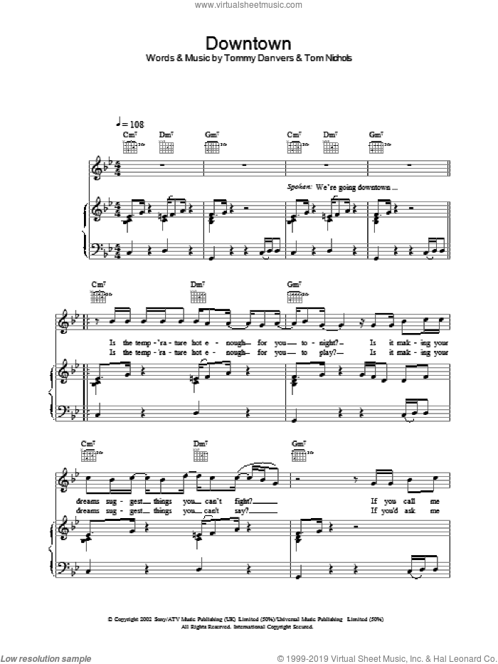 Downtown sheet music for voice, piano or guitar by Gareth Gates
