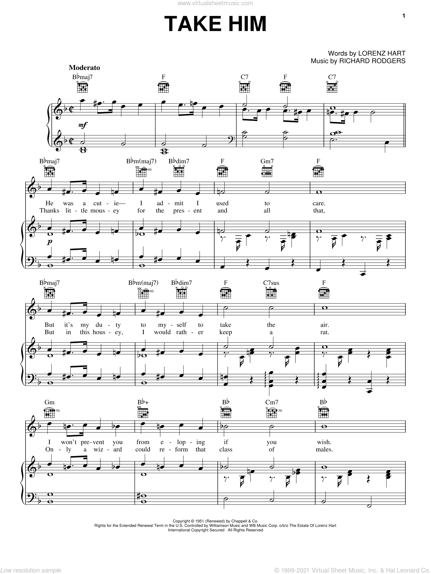 Take Him sheet music for voice, piano or guitar by Lorenz Hart