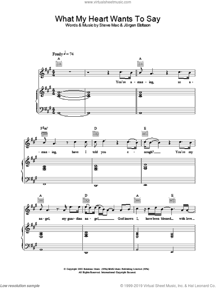 What My Heart Wants To Say sheet music for voice, piano or guitar by Gareth Gates. Score Image Preview.