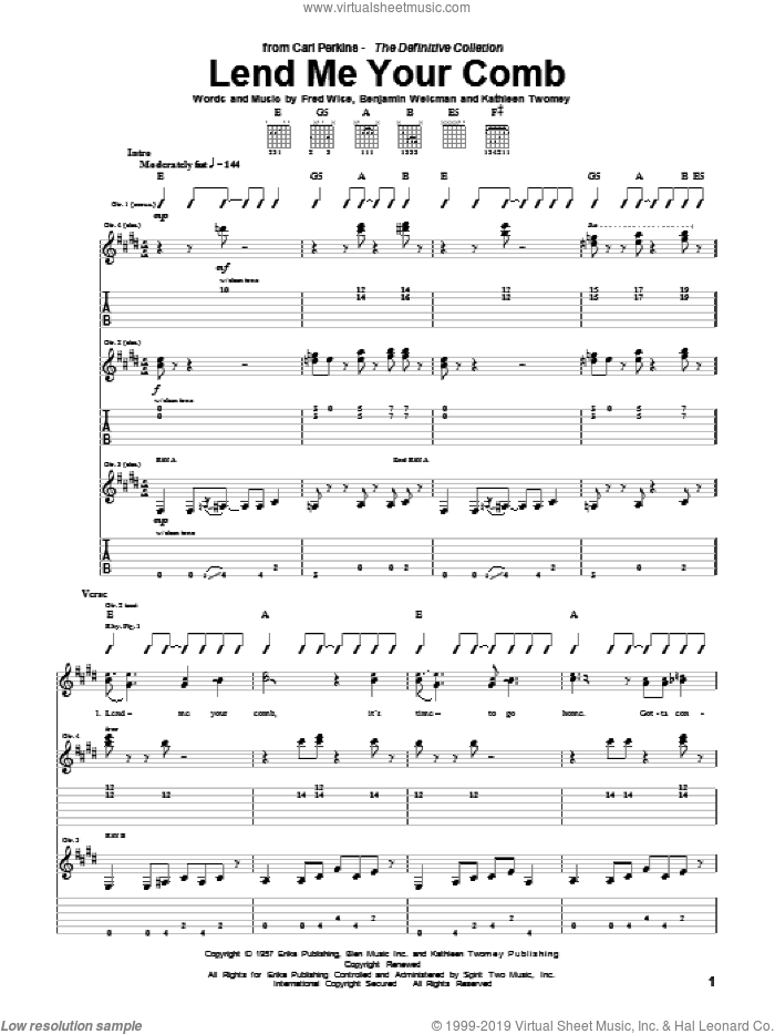 Lend Me Your Comb sheet music for guitar (tablature) by Carl Perkins and Fred Wise, intermediate. Score Image Preview.