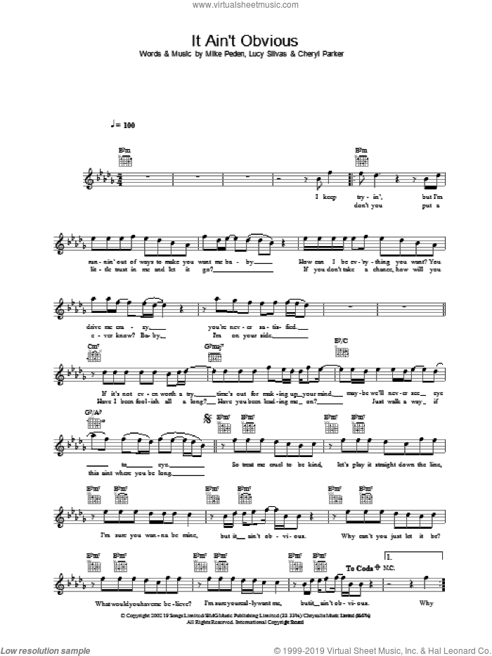 It Ain't Obvious sheet music for voice and other instruments (fake book) by Gareth Gates. Score Image Preview.