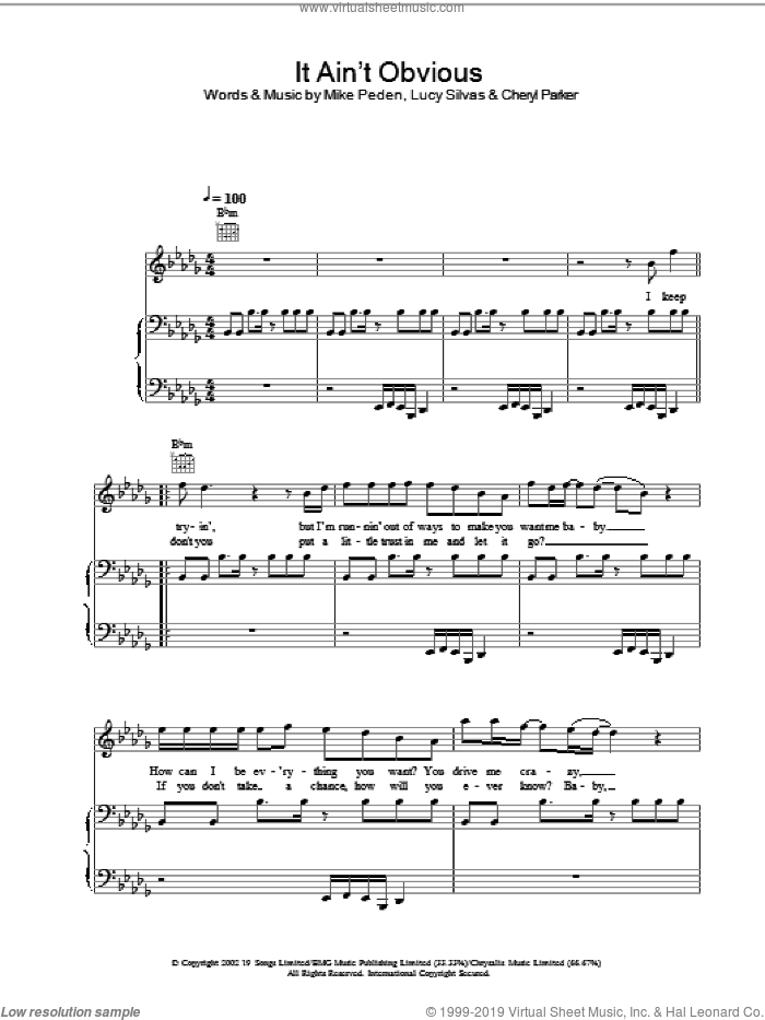 It Ain't Obvious sheet music for voice, piano or guitar by Gareth Gates, intermediate voice, piano or guitar. Score Image Preview.