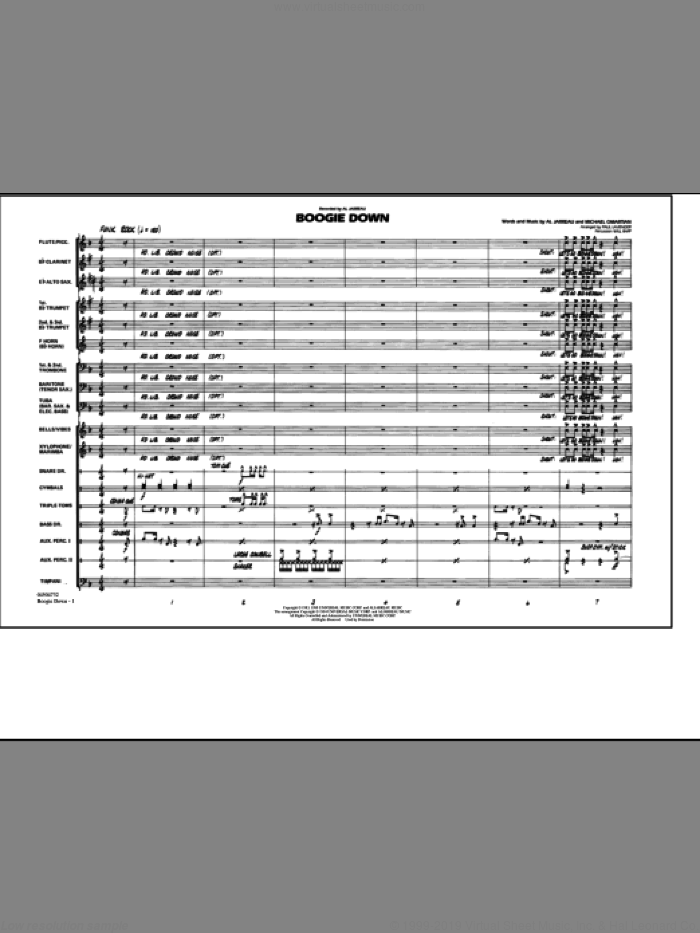 Boogie Down (COMPLETE) sheet music for marching band by Al Jarreau, Paul Lavender and Will Rapp, intermediate. Score Image Preview.